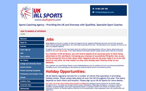 Screenshot of Jobs Page ukallsports.com - Sports Coaching Agency – Providing the UK and Overseas with Qualified, Specialist Sport Coaches - UK All Sports - captured Sept. 30, 2014