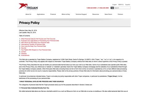 Screenshot of Privacy Page trojanbattery.com - Privacy Policy | Trojan Battery Company - captured Sept. 30, 2018