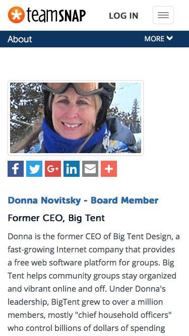 Screenshot of Team Page  teamsnap.com - Donna Novitsky - Board Member