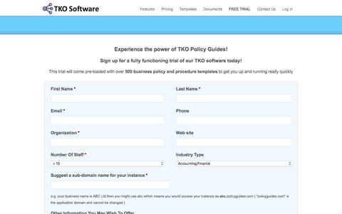 Screenshot of Trial Page tkodocs.com - FREE TRIAL | TKO Software | Policy | Procedure | SOP Software | Business Template| Quality | Manuals - captured Jan. 18, 2018