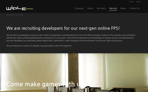 Screenshot of Jobs Page wiplegames.com - Jobs | Wiple games - captured Nov. 4, 2014
