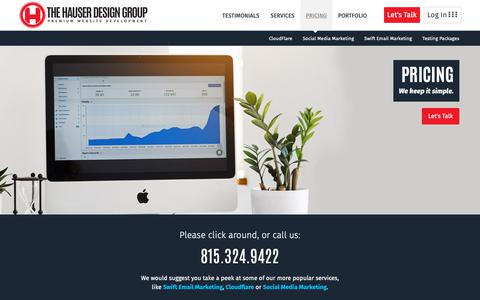 Screenshot of Pricing Page thehauserdesigngroup.com - Marketing Firm Pricing near Chicago   Marketing Services   The HDG - captured Oct. 19, 2018