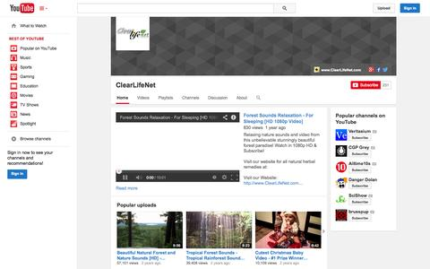 Screenshot of YouTube Page youtube.com - ClearLifeNet  - YouTube - captured Oct. 22, 2014