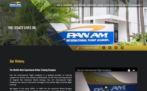 Screenshot of About Page panamacademy.com - About us | Pan Am International | Flight Academy Type Ratings, Boeing 737, A320, Flight Attendant, Dispatcher, ATP-CTP Training - captured Sept. 26, 2018