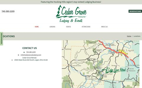 Screenshot of Contact Page Locations Page cedargrovelodging.com - Cedar Grove Lodging: Locations - captured Oct. 18, 2018
