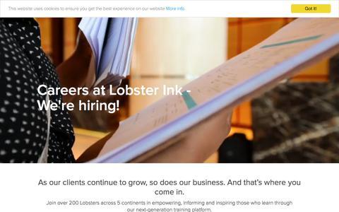 Screenshot of Jobs Page lobsterink.com - Careers - captured April 11, 2018