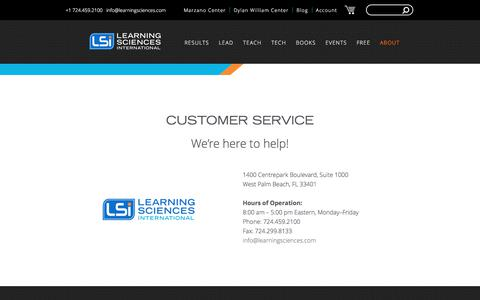 Screenshot of Support Page learningsciences.com - Customer Service  - Learning Sciences International - captured July 28, 2017