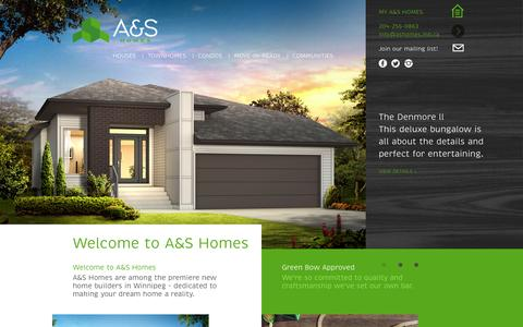 Screenshot of Home Page ashomes.ca - Welcome to A&S Homes | A&S Homes - captured Sept. 30, 2014
