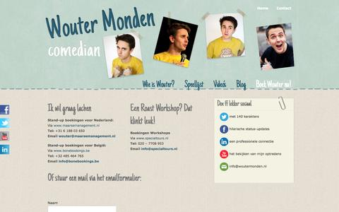 Screenshot of Contact Page woutermonden.nl - Contact «  Wouter Monden – Comedian - captured Sept. 30, 2014