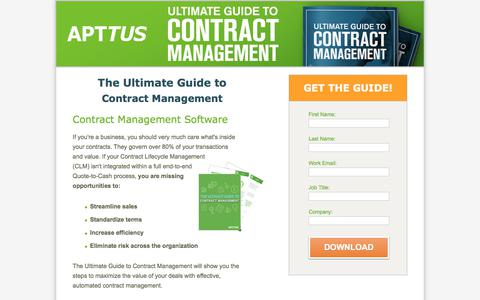 Screenshot of Landing Page apttus.com - The Ultimate Guide to Contract Management - captured Jan. 23, 2018