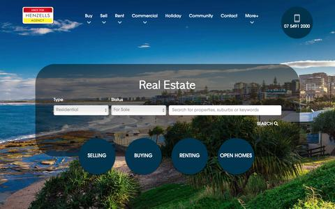 Screenshot of Home Page henzells.com.au - Henzells Agency - Caloundra and Sunshine Coast Real Estate - captured Nov. 10, 2018