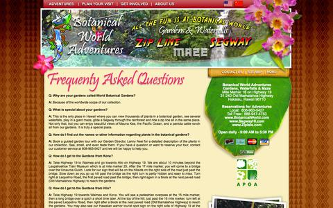 Screenshot of FAQ Page botanicalworld.com - Botanical World Adventures -  FAQ - captured Oct. 5, 2014