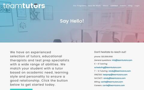 Screenshot of Contact Page teamtutors.com - Contact - Team Tutors - captured Aug. 18, 2016