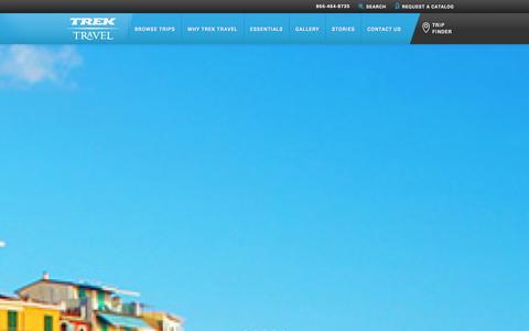Screenshot of Home Page trektravel.com - Trek Travel Luxury Cycling Vacations of a Lifetime - captured Sept. 23, 2014