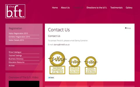 Screenshot of Contact Page thebft.co.uk - Contact Us | The b.f.t. The Big Fortified Tasting - captured Oct. 7, 2014