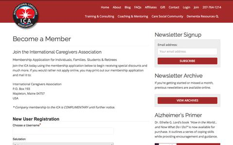 Screenshot of Signup Page internationalcaregiversassociation.com - Join With A Free Membership, The International Caregivers Association - captured Oct. 31, 2017
