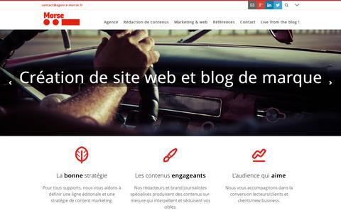 Screenshot of Home Page agence-morse.fr - Agence Morse - Communication éditoriale et brand journalisme - captured July 24, 2016
