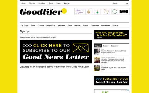 Screenshot of Signup Page goodlifer.com - Sign Up | Goodlifer - captured Sept. 30, 2014