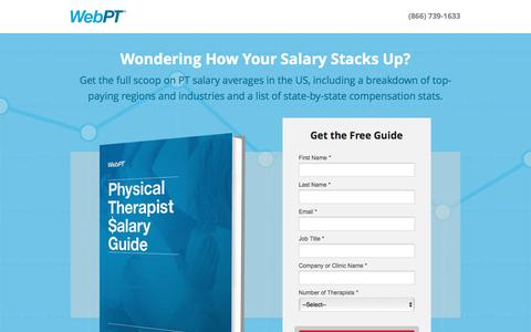 Screenshot of Landing Page webpt.com - WebPT | Physical Therapist Salary Guide - captured Aug. 18, 2016