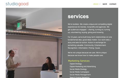 Screenshot of About Page Services Page studiogood.com - Services | StudioGood - captured Feb. 26, 2016