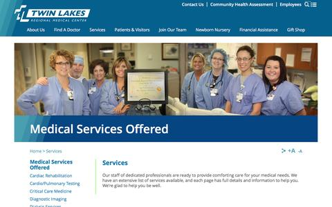 Screenshot of Services Page tlrmc.com - Medical Services Offered | Twin Lakes Regional Medical Center - captured Dec. 6, 2016