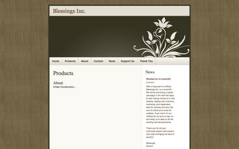 Screenshot of Products Page blessingsfairtrade.org - Products » Blessings Inc. - captured Oct. 5, 2014