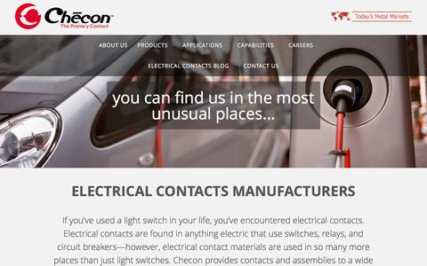 Screenshot of Home Page checon.com - Electrical Contacts Materials, Products &amp Assemblies | Checon - captured Nov. 5, 2016