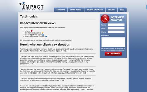 Screenshot of Testimonials Page impactinterview.com - Testimonials  |  Impact Interview - captured Nov. 6, 2018