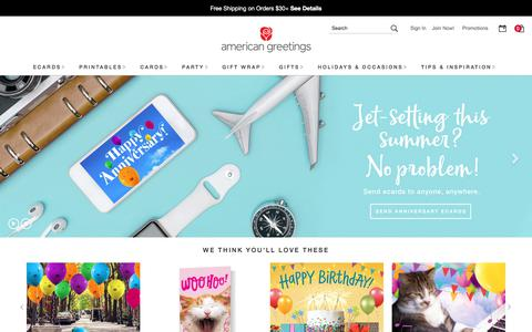 Screenshot of Home Page americangreetings.com - American Greetings - Shop Greeting Cards, Ecards, Printable Cards, Party Supplies, Gift Wrap & Gifts - captured July 13, 2019