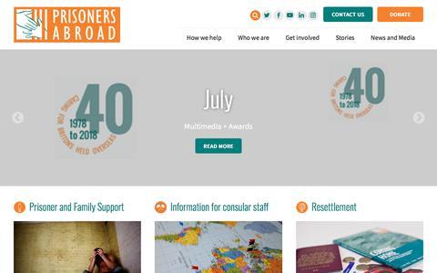 Screenshot of Home Page prisonersabroad.org.uk - Prisoners Abroad   Home - captured July 22, 2018