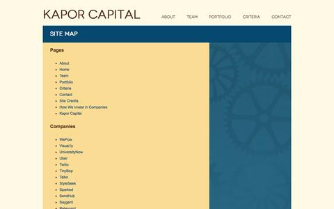 Screenshot of Site Map Page kaporcapital.com - Site map | KAPOR CAPITAL - captured Sept. 30, 2014