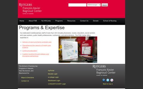 Screenshot of Services Page fxbcenter.org - François-Xavier Bagnoud Center - captured Feb. 10, 2016