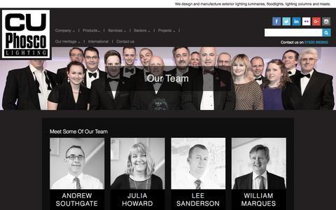 Screenshot of Team Page cuphosco.com captured Oct. 14, 2016