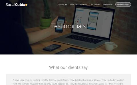 Screenshot of Testimonials Page socialcubix.com - Client reviews for an app development company, Social Cubix - Testimonials - captured Oct. 26, 2015