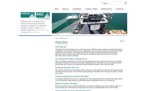 Screenshot of Privacy Page agc-ausgroup.com - Privacy Policy - AGC/AusGroup - captured Oct. 4, 2014