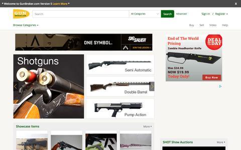 Screenshot of Home Page gunbroker.com - Guns for Sale - Online Gun Auction - Buy Guns at GunBroker.com - captured Dec. 17, 2015