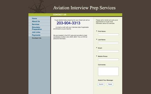 Screenshot of Contact Page aviationinterviewprep.com - Aviation Interview Prep Services - Contact Us - captured Oct. 4, 2014