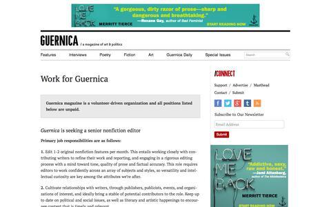 Screenshot of Jobs Page guernicamag.com - Work for Guernica - Guernica / A Magazine of Art & Politics - captured Sept. 19, 2014