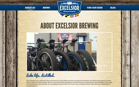 Screenshot of About Page excelsiorbrew.com - About Excelsior Brewing - Excelsior Brewing Company - captured Oct. 3, 2014