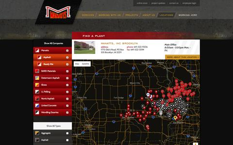 Screenshot of Locations Page manatts.com - Find a Plant - Manatts, Inc. - captured Feb. 4, 2016