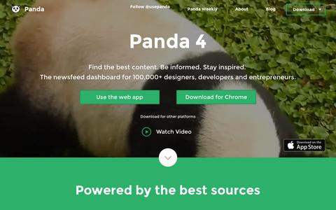 Screenshot of Home Page usepanda.com - Panda - Daily News and Inspiration - captured Oct. 7, 2015