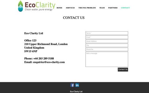 Screenshot of Contact Page eco-clarity.com - Eco Clarity - Contact Us - captured Sept. 27, 2018