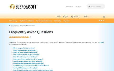 Screenshot of FAQ Page subrosasoft.com - Frequently Asked Questions - SubRosaSoft.com - Awesome Mac Security and Data Recovery Software - captured June 16, 2017