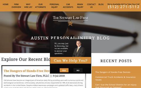 Screenshot of Blog thestewartlawfirm.net - Texas Personal Injury Blog | The Stewart Law Firm, PLLC - captured July 13, 2018