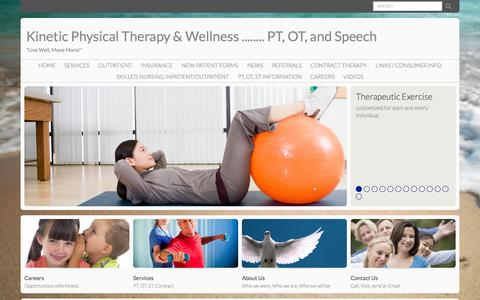 Screenshot of Menu Page kineticptgreenville.com - Kinetic Physical Therapy & Wellness ........ PT, OT, and Speech : Home - captured Nov. 3, 2014
