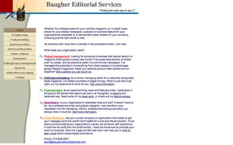 Screenshot of Home Page baughereditorialservices.com - David Baugher Editorial Services - captured Oct. 1, 2014