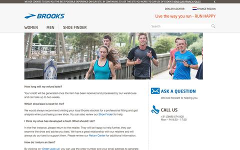 Screenshot of FAQ Page brooksrunning.com - Customer Service - Frequently Asked Questions - captured March 16, 2017