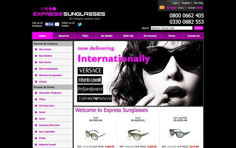 Screenshot of Home Page expresssunglasses.co.uk - Sunglasses | Huge Range | Designer or Cheap | Fast Shipping - captured Sept. 30, 2014