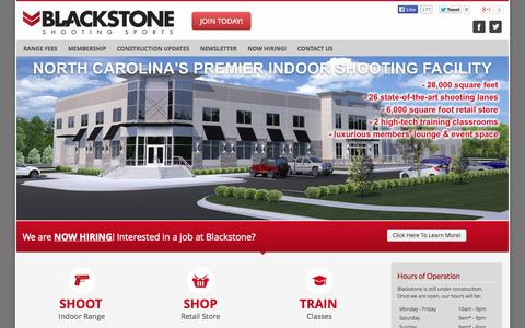 Screenshot of Home Page blackstoneshootingsports.com - Home » Blackstone Shooting Sports | Indoor Range & Retail Store in Charlotte, NC - captured Sept. 30, 2014