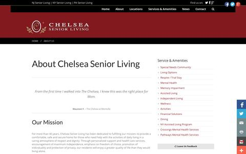Screenshot of About Page chelseaseniorliving.com - NJ Assisted Living | NJ Independent Living | Chelsea Senior Living | NJ, NY and PA Senior Living | Chelsea Senior Living - captured Sept. 29, 2014